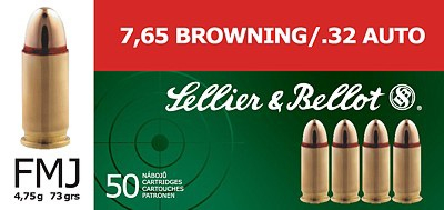 Cartucce Sellier & Bellot calibro 7,65 browning FMJ
