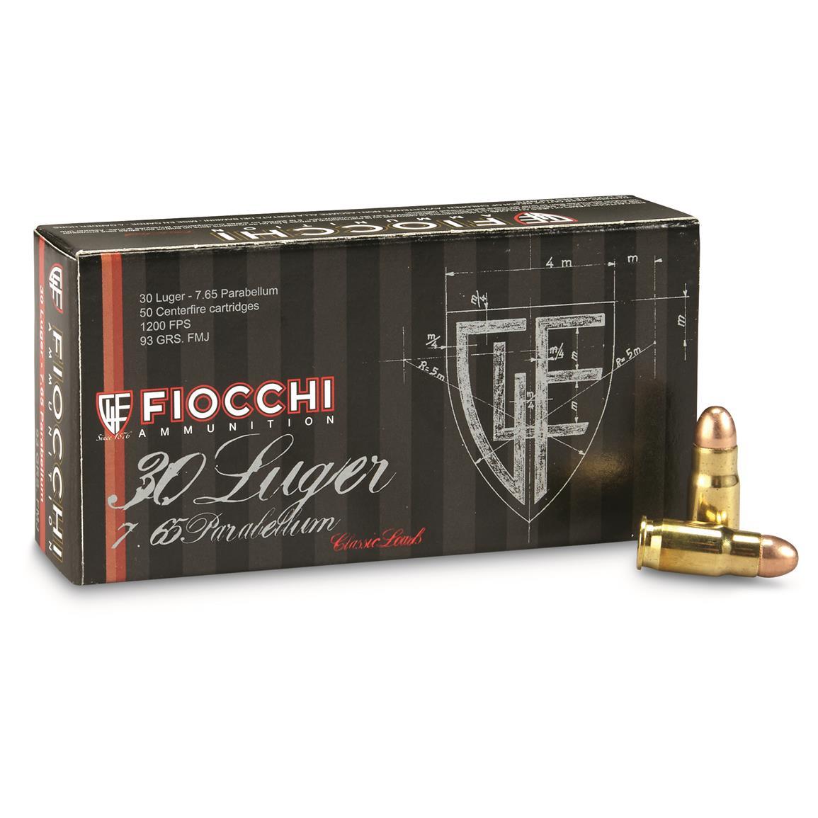 cartucce fiocchi calibro 30 Luger FMJ 93 grain