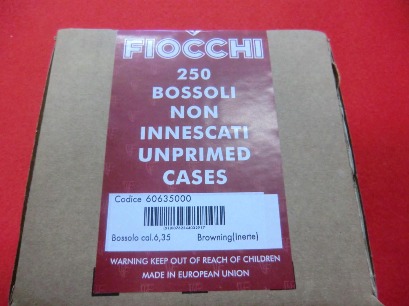 Bossoli Fiocchi calibro 6.35 Browning