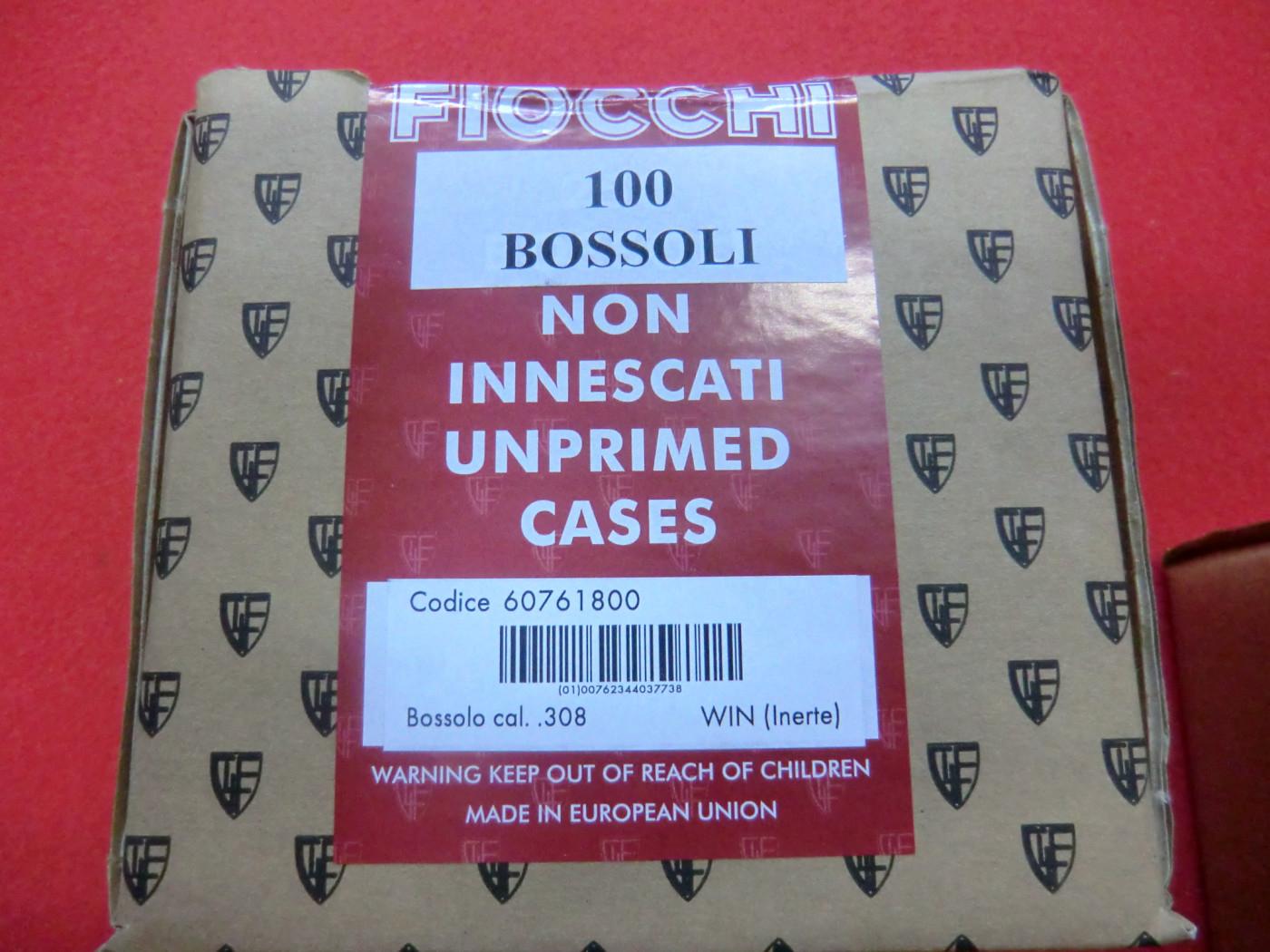Bossoli Fiocchi calibro 308 Winchester
