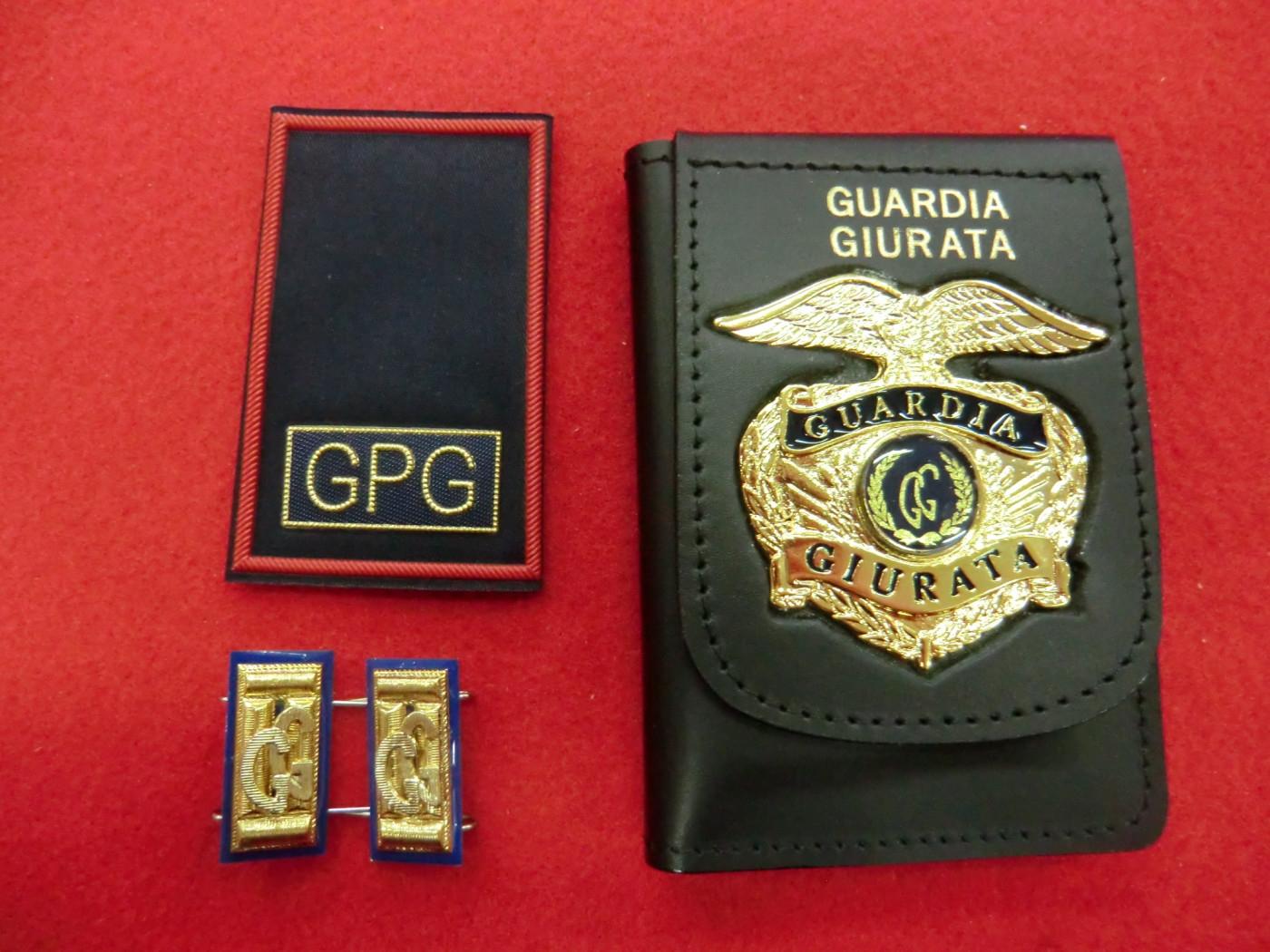 Porta documenti con placca e tubolari rossi e blu per guardia giurata