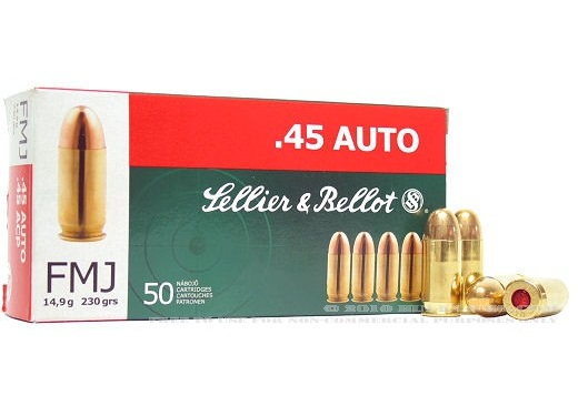cartucce sellier & bellot calibro 45 auto fmj 230 grain